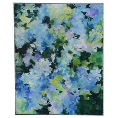 "Sue Dion Acrylic Painting ""Hydrangea Blue"", 2019"