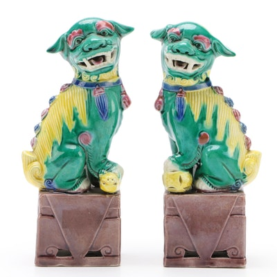 Pair of East Asian Sancai Glaze Guardian Lion Figurines