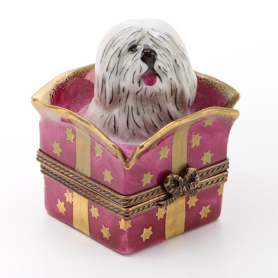 Parry Vieille Hand-Painted Limoges Shaggy Dog in Gift Trinket Box