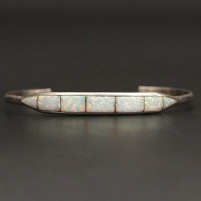 Southwestern Style Sterling Silver Opal Cuff Bracelet