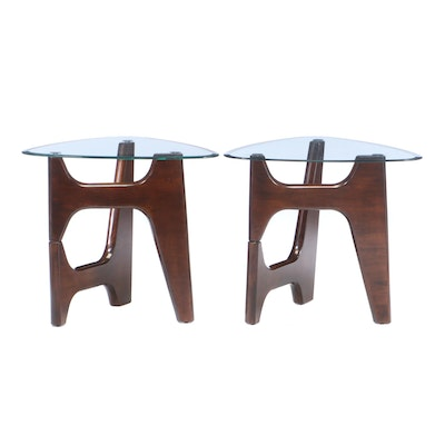 "Ashley Furniture Pair of Modernist Style ""Blanca"" Side Tables"