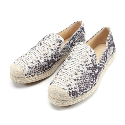 Stuart Weitzman Array Python Snake Print Leather Espadrilles