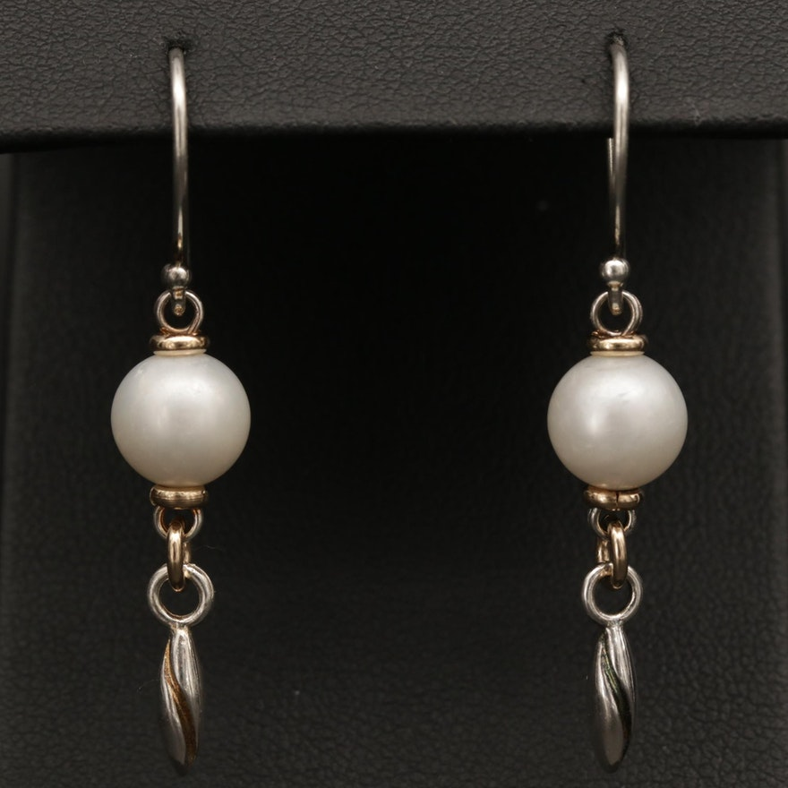 Michael Dawkins Sterling Silver Pearl Earrings with 14K Yellow Gold Accents