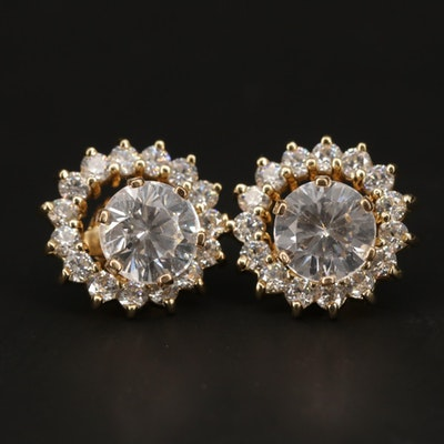 14K Yellow Gold Cubic Zirconia Stud Earrings and Enhancers