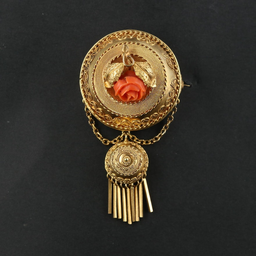 Mid-Victorian Etruscan Revival 14K Yellow Gold Coral Brooch