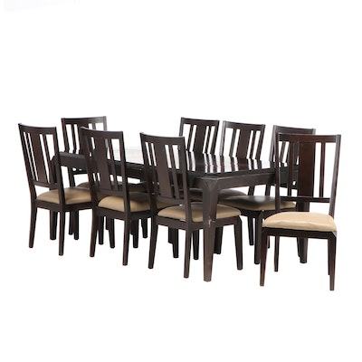 Contemporary Espresso Finish Dining Set with Mosaic Tile and Internal Leaf