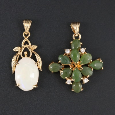 Serpentine and Opal with Glass Floral Motif Pendants