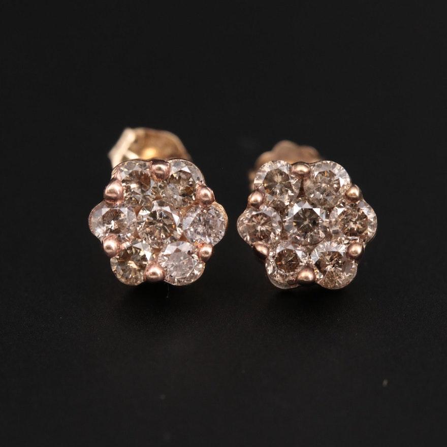 10K and 14K Yellow Gold Diamond Stud Earrings