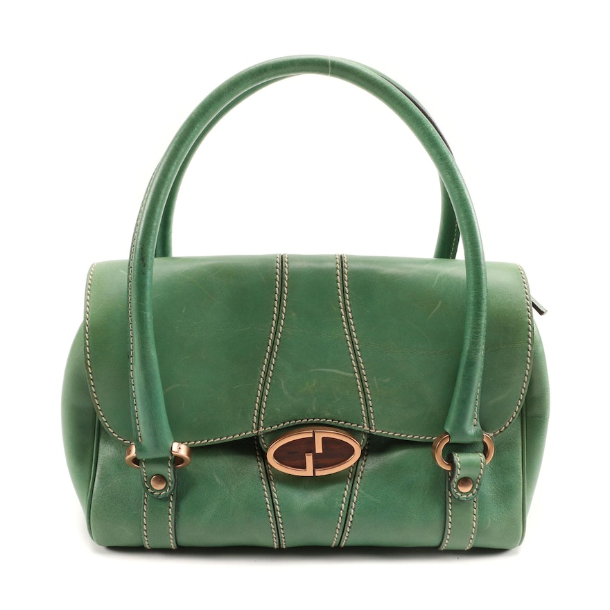 Gucci Green Leather Handbag with Contrast Stitching