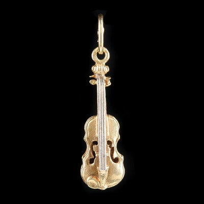 14K Yellow Gold Violin Pendant With 14K White Gold Strings