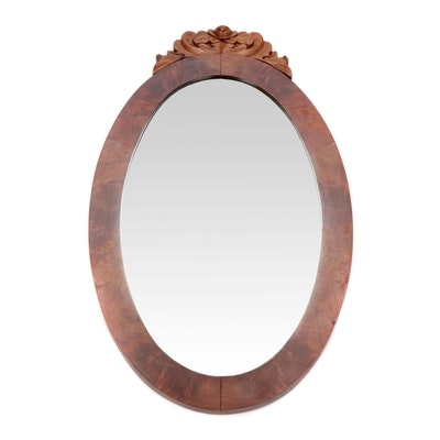 Carved Mahogany Oval Wall Mirror, Late 19th Century