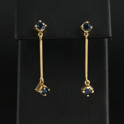 18K Yellow Gold Sapphire Dangle Earrings