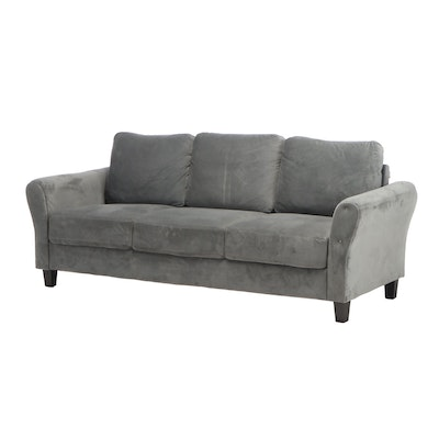 Transitional Style Velour Upholstered Sofa for Lifestyle Solutions, Contemporary