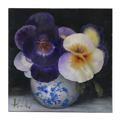 "ThuThuy Tran Oil Painting ""Pansies in October"", 2019"