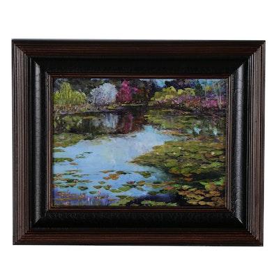 """James Baldoumas Oil Painting """"Lily Pond"""", 2019"""