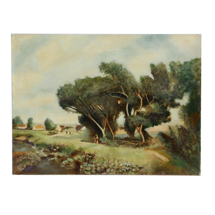 Attributed to Frank Bartels Pastoral Landscape Oil Painting, Early 20th Century