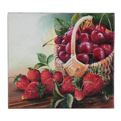 "Alexander Nakonechny Oil Painting ""Cherries and Strawberries"""
