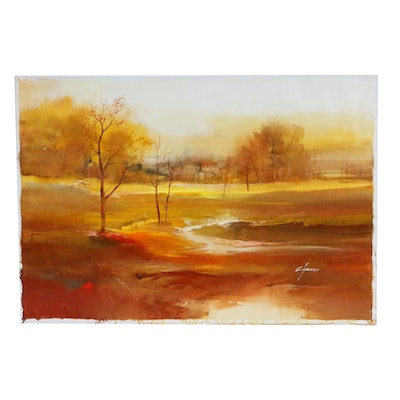 Wilfred Lang Acrylic Landscape Painting
