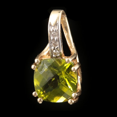 14K Yellow Gold Peridot and Diamond Pendant