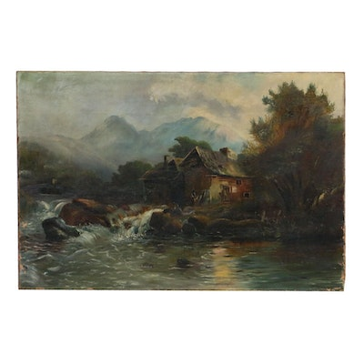 "Oil Painting ""Old Scottish Mill"", Late 19th Century"