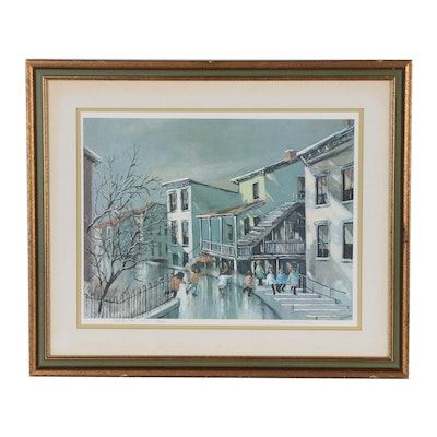 "Robert Fabe Offset Lithograph ""After the Rain"""