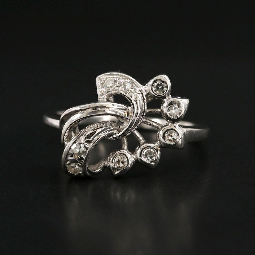 Circa 1940 14K White Gold Diamond Ring