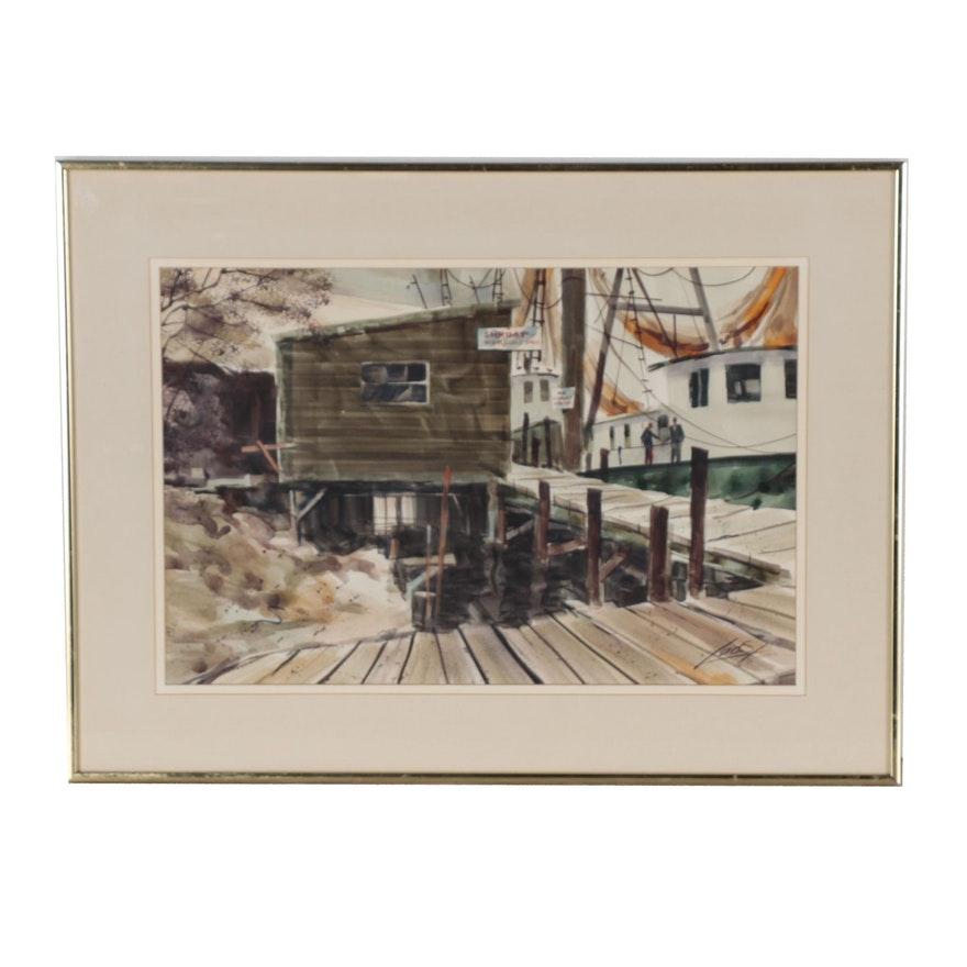 Ray Loos Watercolor Painting of a Shrimp Boat