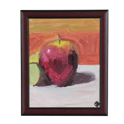 "Martin Azari Oil Painting ""Apple Still Life"""