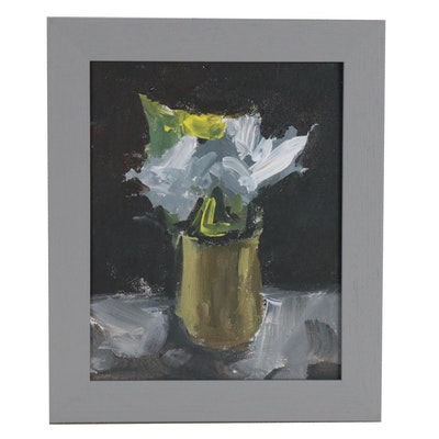 "Martin Azari Oil Painting ""Flowers in Vase"""