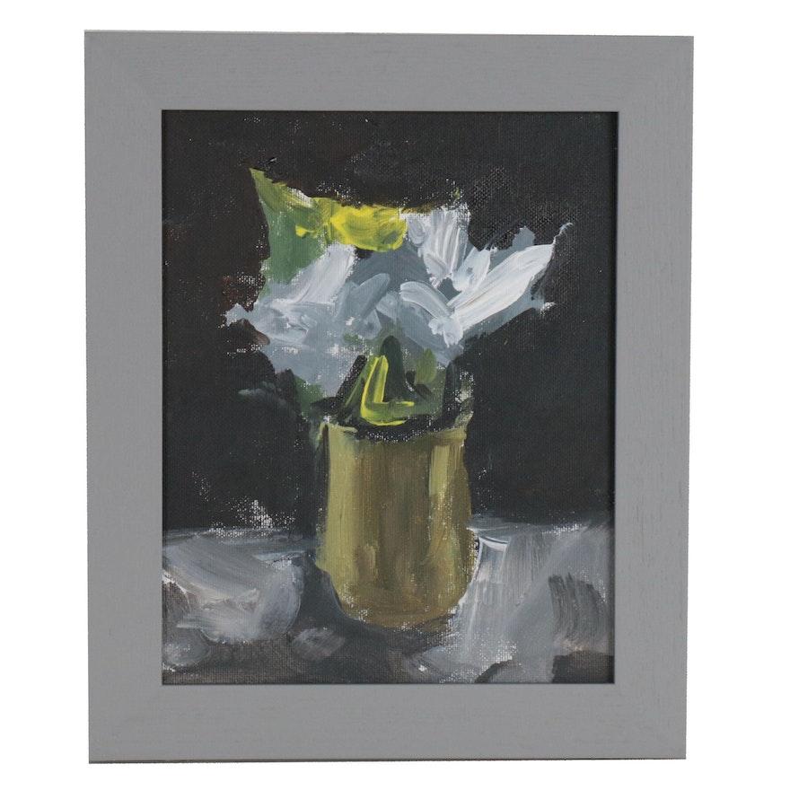 "Martin Azari Oil Painting ""Flowers in Vase"""