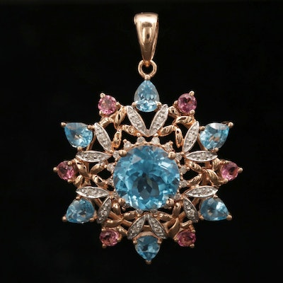 14K Rose Gold Topaz, Tourmaline and Diamond Pendant