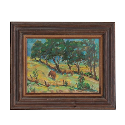 "Carl Zimmerman Oil Painting ""Pasture with Horses"""