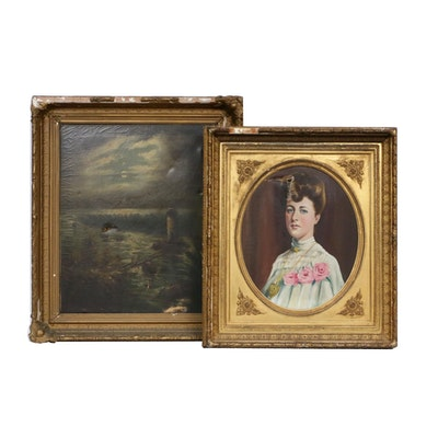 Portrait and Landscape Oil Paintings, Late 19th/Early 20th Century