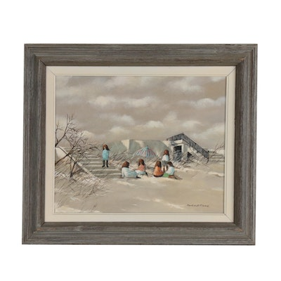 Robert Fabe Beach Scene Acrylic Painting, Late 20th Century