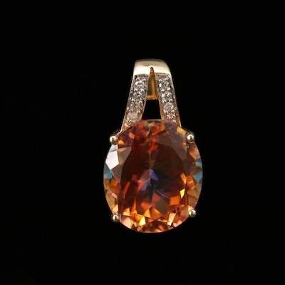 14K Yellow Gold Mystic Topaz and Diamond Pendant