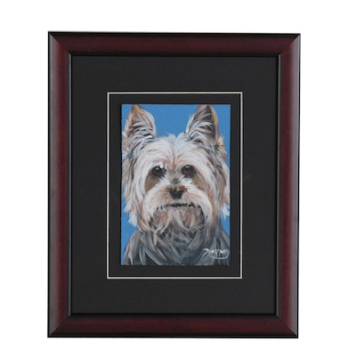 Marc Broadway Acrylic Painting of a Terrier