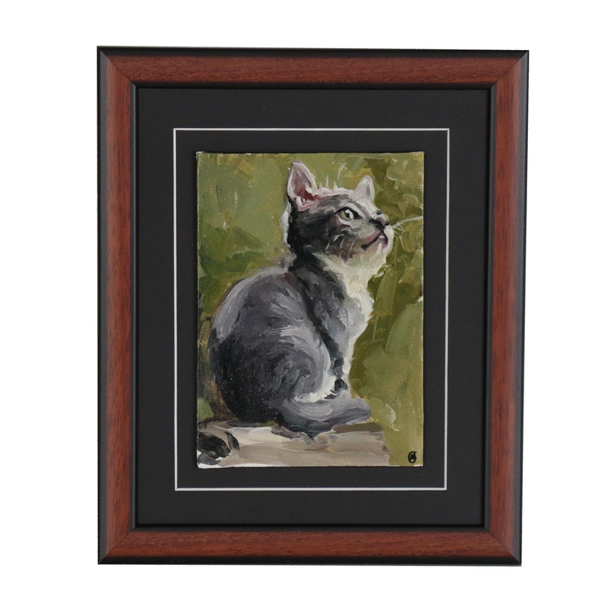 Martin Azari Oil Painting of a Kitten