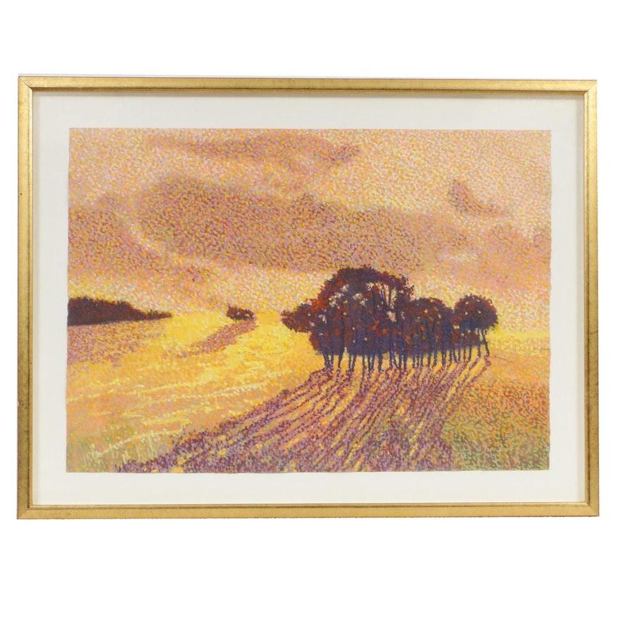 Attributed to Joseph DiGiorgio Pointillist Landscape Pastel Drawing