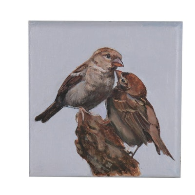 Donna Pomponio Theis Oil Painting of Finches