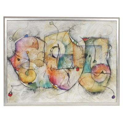 """Eric Waugh Abstract Embellished Offset Lithograph """"Bravo"""""""