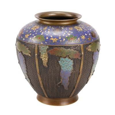 Japanese Cloisonné Enamel-Decorated Bronze Basketweave Vase, Meiji Period