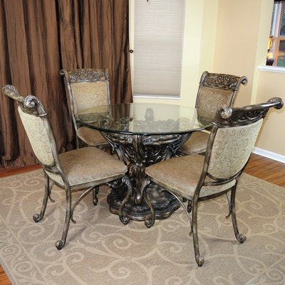 Glass Top Dining Table and Upholstered Side Chairs, Contemporary