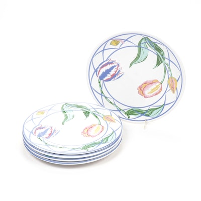 "Lynn Chase ""Jardin des Tulipes"" Faïence Plates and Platter"