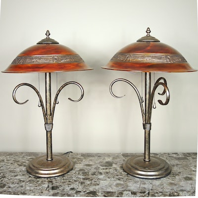 Metal and Glass Table Lamps