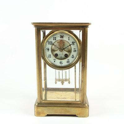 Gilbert Clock Co. Brass Cased Crystal Regulator Clock, Early 20th Century