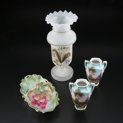 "Noritake Vases, Bavaria ""Caravane"" Dish and Bristol Glass Vase, Early 20th C."