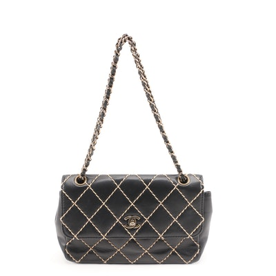 Chanel Black Lambskin Leather Wild Stitch CC Double Chain Shoulder Bag