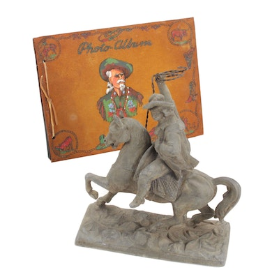 Buffalo Bill Cody with Lariat Metal Statue and Photo Album