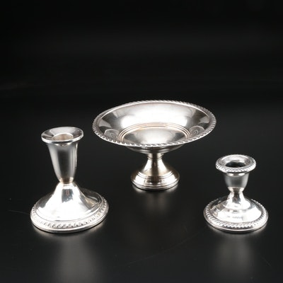 Preisner Weighted Sterling Compote with Weighted Sterling Candle Holders
