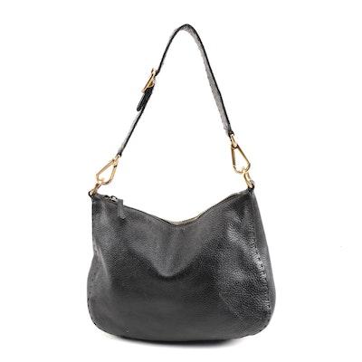 Prada Black Vitello Daino Leather Shoulder Bag with Running Stitch Detailing